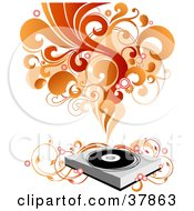 Clipart Illustration Of A Record Player With Vines Red And Orange Waves Of Sound And Circles by OnFocusMedia