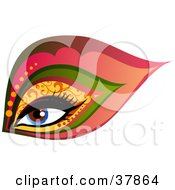 Clipart Illustration Of A Beautiful Blue Womans Eye With Glamorous Patterned Makeup