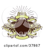 Clipart Illustration Of A Blank Brown Circle With Brown And Green Vines And Banners