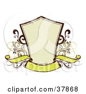Clipart Illustration Of A Blank Beige Shield With Green And Orange Vines And A Blank Banner With A Scratched Grunge Texture