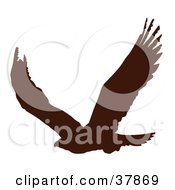 Clipart Illustration Of A Dark Brown Eagle Silhouette