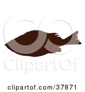 Clipart Illustration Of A Dark Brown Fish Silhouette
