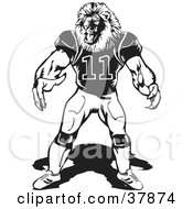 Clipart Illustration Of A Black And White Lion Football Player