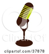 Clipart Illustration Of A Green And Brown Microphone