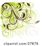 Clipart Illustration Of A Corner Of Green And Brown Grunge And Vines by OnFocusMedia