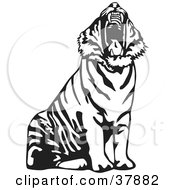 Clipart Illustration Of A Yawning Black And White Tiger
