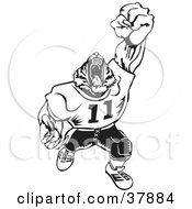 Clipart Illustration Of A Black And White Tiger Football Player Roaring by David Rey #COLLC37884-0052