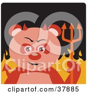 Clipart Illustration Of A Panda Bear Devil With Horns And A Pitchfork Standing In Flames by Dennis Holmes Designs