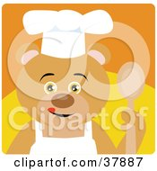 Cooking Bear In An Apron And Chefs Hat Holding A Spoon