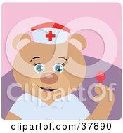 Friendly Teddy Bear Nurse Holding A Sucker