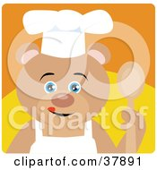 Clipart Illustration Of A Culinary Chef Teddy Bear In An Apron And Chefs Hat Holding A Spoon by Dennis Holmes Designs