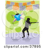 Clipart Illustration Of A Silhouetted Boy Swinging At A Pinata With A Bat During A Celebration by David Rey