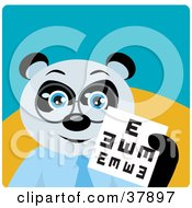 Giant Panda Bear Optometrist In Spectacles Holding Up An Eye Chart