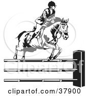 Black And White Rider Leading A Horse To Jump Over Hurdles