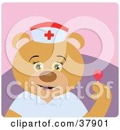 Nurse Teddy Bear Holding A Loli Pop