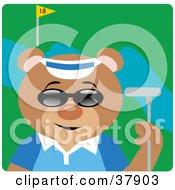Clipart Illustration Of A Golfer Bear Wearing Shades And Standing With A Club On A Golf Course