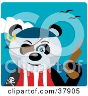 Panda Bear Pirate Wearing An Eye Patch And Holding A Pistil