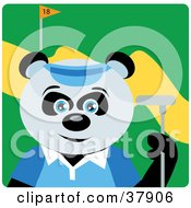 Clipart Illustration Of A Giant Panda Bear In A Blue Shirt And Visor Hat Holding A Club While Golfing