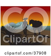 Clipart Illustration Of A Silhouetted Cowboy Walking Alongside His Horse Near Mountains At Sunset