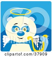Clipart Illustration Of An Angel Panda Bear With A Halo Wings And Lyre by Dennis Holmes Designs
