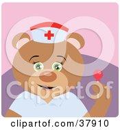 Bear Hospital Nurse Holding A Sucker