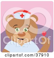 Clipart Illustration Of A Bear Hospital Nurse Holding A Sucker