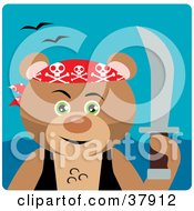 Clipart Illustration Of A Brown Bear Pirate Holding Up A Sword