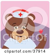 Clipart Illustration Of A Nice Nurse Bear Holding A Sucker