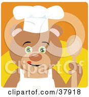 Culinary Bear In An Apron And Chefs Hat Holding A Spoon