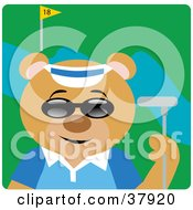 Golfing Bear Wearing Sunglasses And Holding A Club On The Course