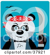 Clipart Illustration Of A Giant Panda Bear Pirate With A Sword