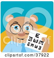 Clipart Illustration Of A Teddy Bear Optometrist In Spectacles Holding Up An Eye Chart by Dennis Holmes Designs