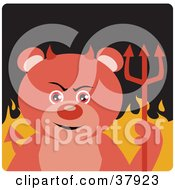 Clipart Illustration Of A Devil Bear With Horns And A Pitchfork Standing In Flames