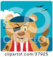 Pirate Bear Wearing An Eye Patch And Holding A Pistil