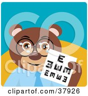 Clipart Illustration Of An Optometrist Bear In Spectacles Holding Up An Eye Chart by Dennis Holmes Designs