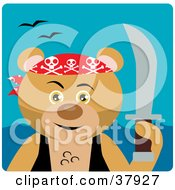Clipart Illustration Of A Tough Pirate Bear Holding A Sword