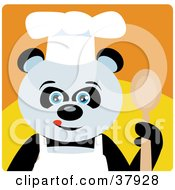 Panda Bear Chef In An Apron And Chefs Hat Holding A Spoon