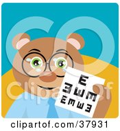 Friendly Optometry Bear Wearing Glasses And Holding An Eye Chart