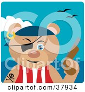 Teddy Bear Pirate Wearing An Eye Patch And Holding A Pistil