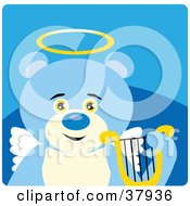 Clipart Illustration Of An Innocent Blue Teddy Bear Angel With A Halo Wings And Lyre