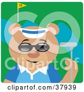 Teddy Bear In Shades A Blue Shirt And Visor Hat Holding A Club While Golfing