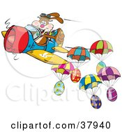 Clipart Illustration Of A Brown Pilot Bunny Flying An Airplane Near Parachuting Easter Eggs