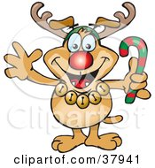 Clipart Illustration Of A Festive Brown Dog Wearing Jingle Bells Holding A Candy Cane And Dressed Like Rudolph The Red Nosed Reindeer