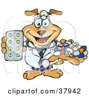 Pharmacist Dog Wearing A Stethoscope And Holding Out Medications