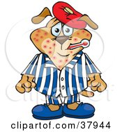 Clipart Illustration Of A Brown Dog Sick With The Chicken Pox Wearing A Cold Pack On His Head And Biting A Thermometer In His Mouth by Dennis Holmes Designs