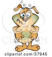 Clipart Illustration Of A Nauseated Dog Turning Green And Holding His Tummy by Dennis Holmes Designs