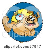 Clipart Illustration Of A Pre Made Logo Of A Cool Sparkey Dog Drinking A Cocktail In A Blue Ring by Dennis Holmes Designs