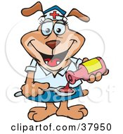 Clipart Illustration Of A Friendly Nurse Dog Pouring Medicine Onto A Spoon