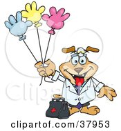 Clipart Illustration Of A Pediatrician Dog Standing With A Medicine Bag And Holding Colorful Hand Shaped Balloons