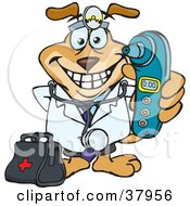 Doctor Dog Wearing A Head Lamp And Standing With A Medicine Bag Holding Out A Blue Ear Thermometer